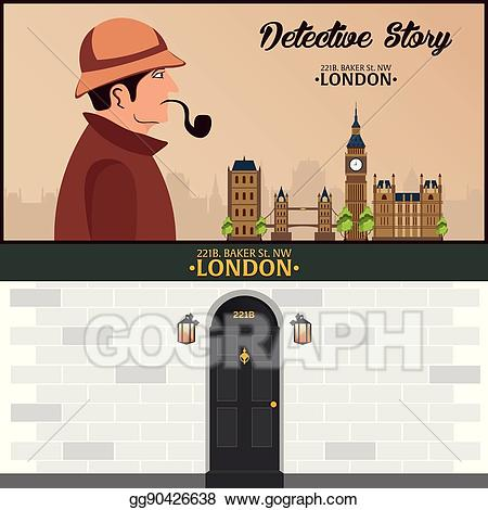 Detective clipart street. Eps illustration sherlock holmes