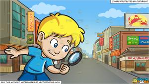 A little boy playing. Detective clipart street