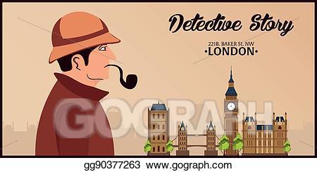 Eps illustration sherlock holmes. Detective clipart street