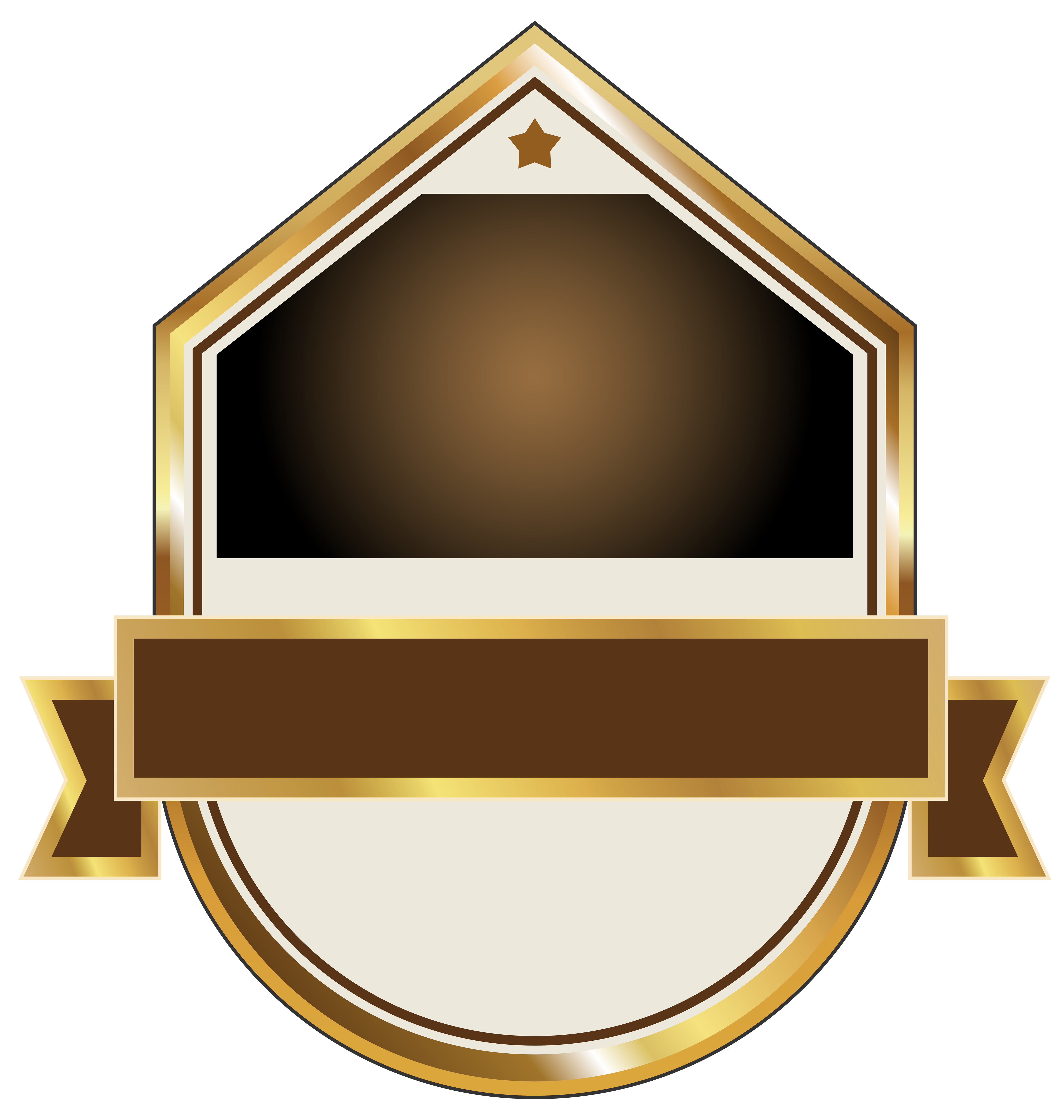 Gold and brown label. Detective clipart symbol