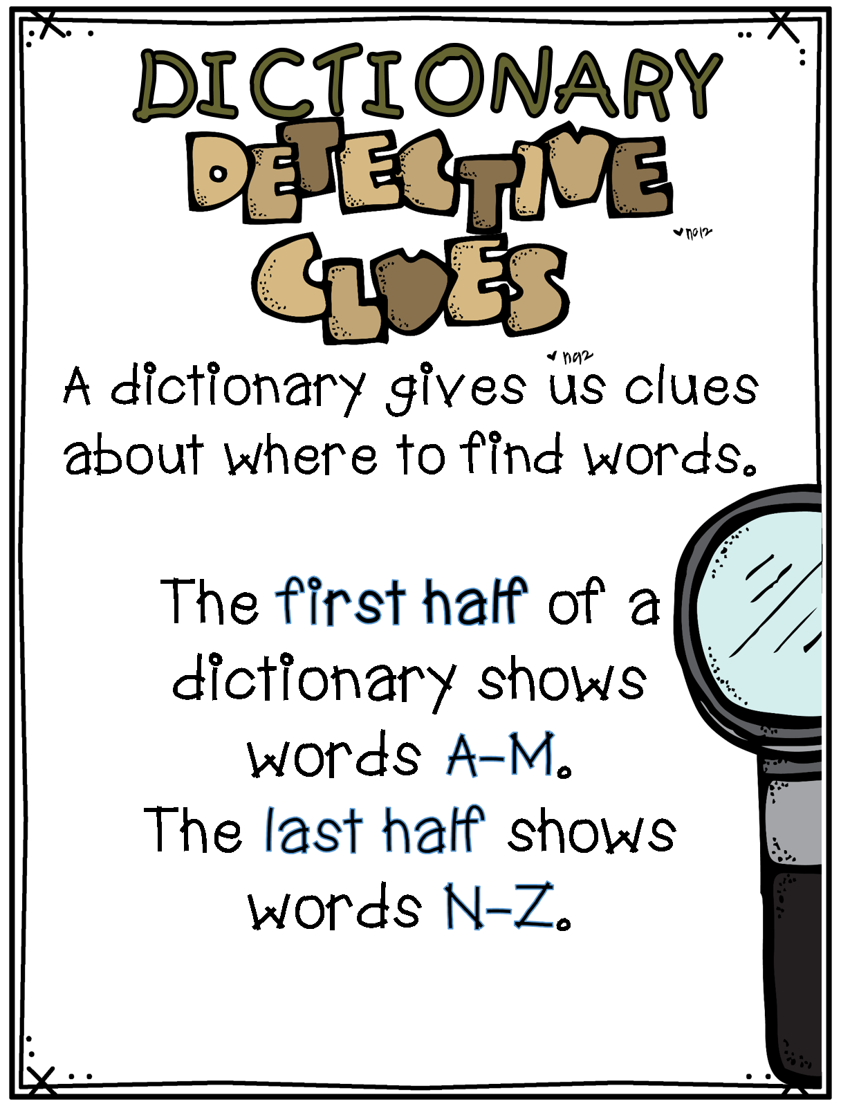Detective clipart vocabulary. Dictionary skills what first