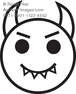 Clip art illustration of. Devil clipart devil face