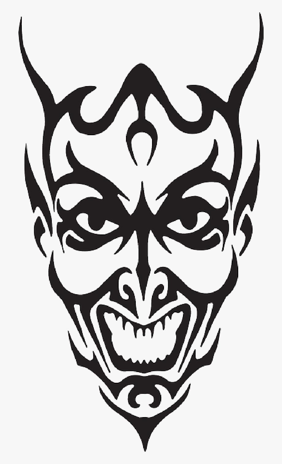 Devil clipart devil face. Demon black and white