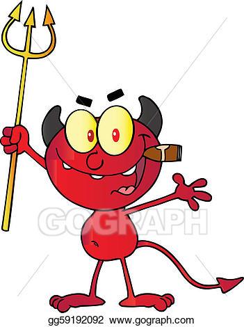 Vector art up a. Devil clipart holding pitchfork
