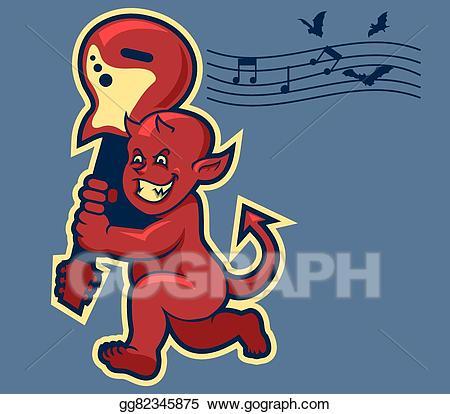 Vector illustration red boy. Devil clipart old fashioned