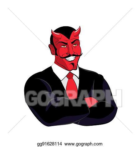 Vector art satan boss. Devil clipart red suit