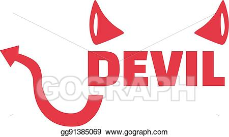 Devil clipart word. Vector with horns and
