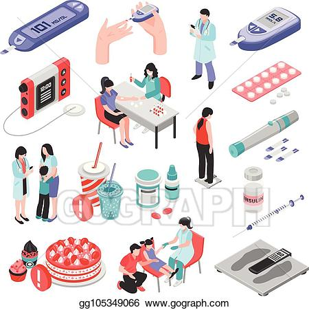 Diabetes clipart diabetes treatment. Vector isometric set