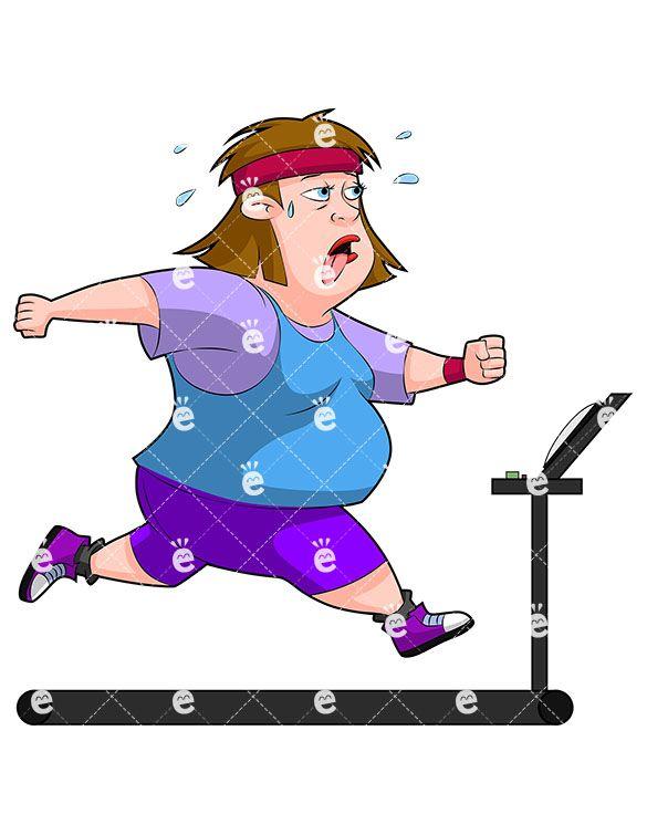 An overweight woman running. Diabetes clipart fat