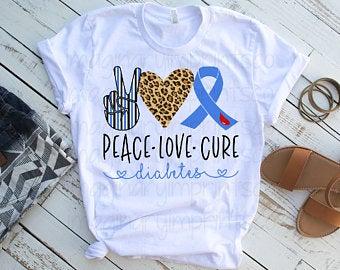 Diabetes clipart peace love. Etsy