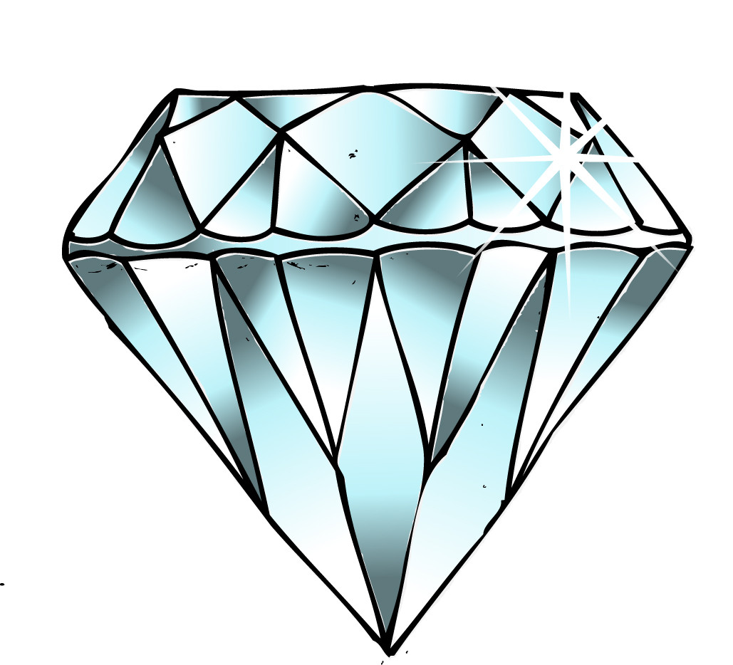 Diamond clipart. Line drawing pencil and