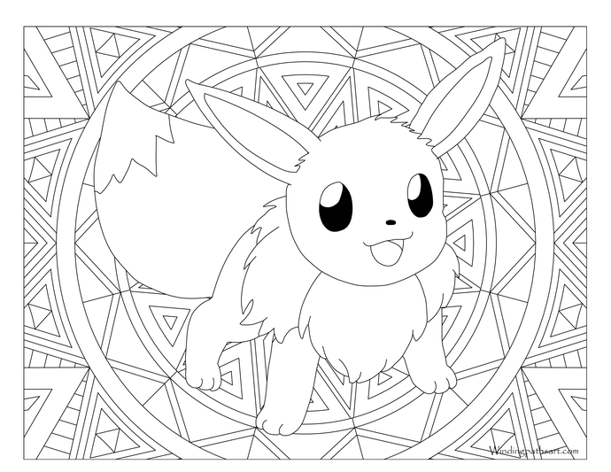 Adult pokemon page eevee. Pikachu clipart coloring sheet