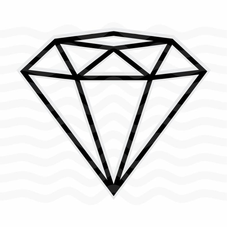Svg engagement party card. Diamond clipart diamond outline