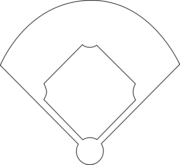 Baseball diamond outline . Field clipart dirt field