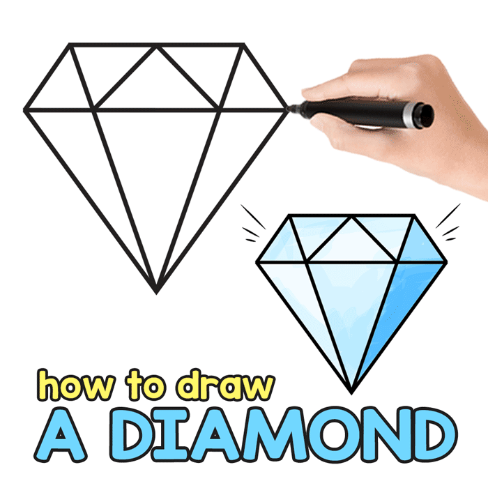 Diamond clipart drawn. How to draw a
