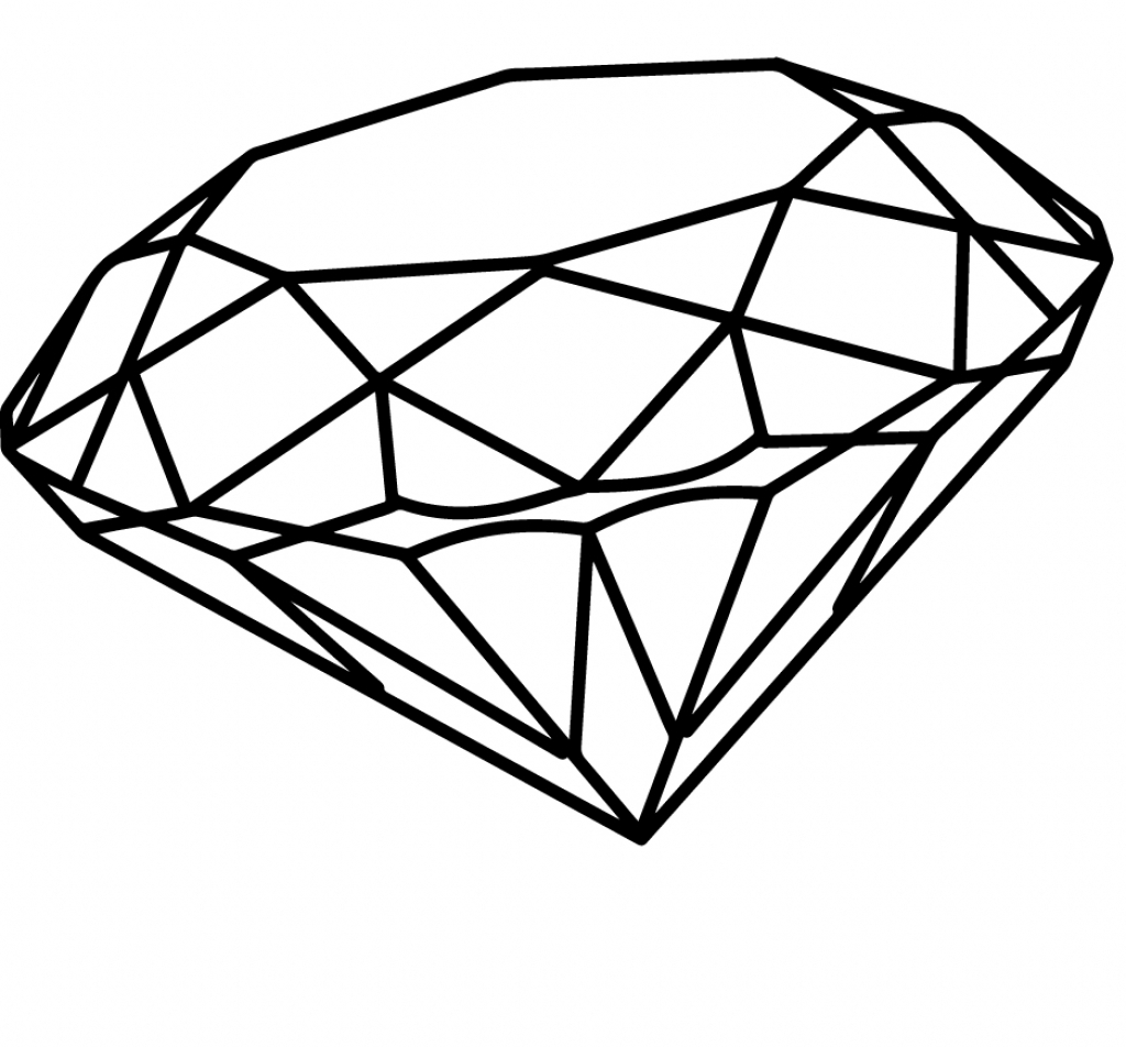 Drawing of a simple. Diamond clipart drawn