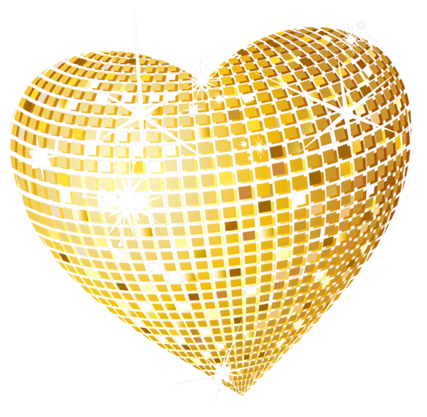 Hearts clipart star. Gold disco heart png
