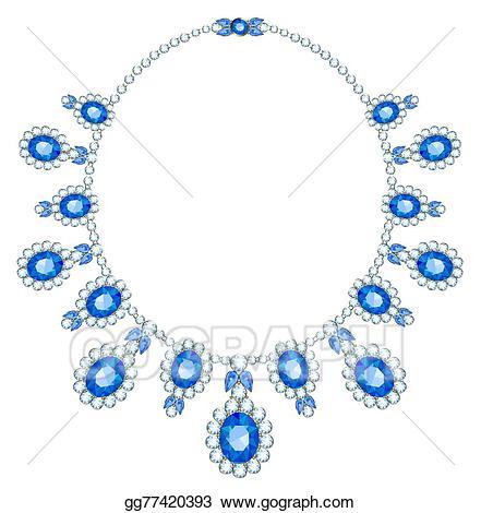 Necklace clipart neclace. Vector diamond illustration