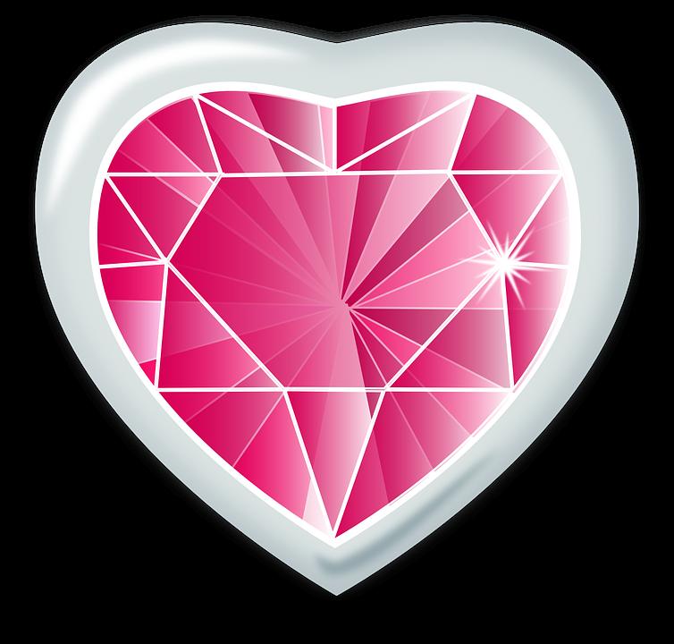 Heart png transparent image. Diamond clipart pink