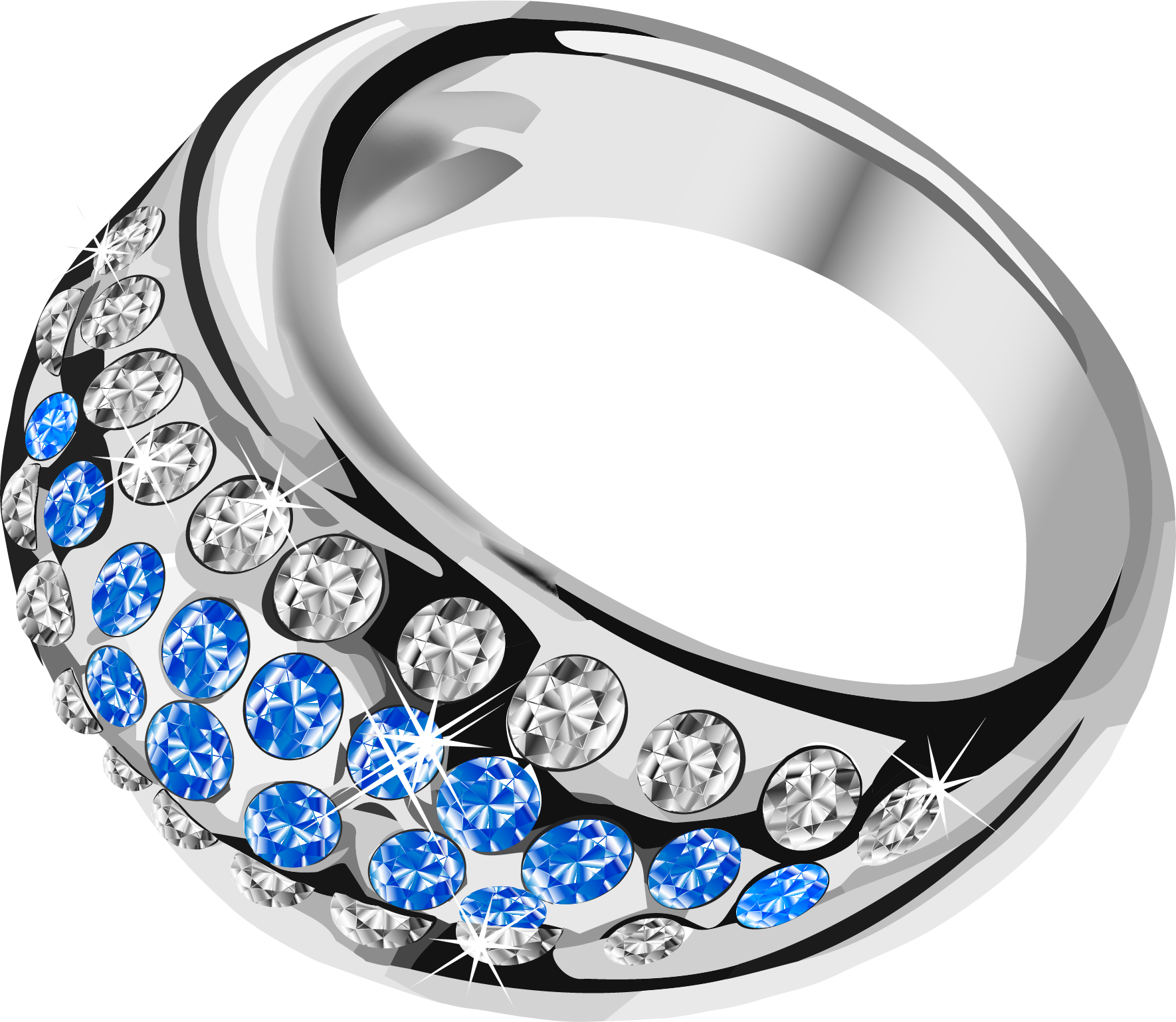 Diamond clipart platinum. Silver ring with blue