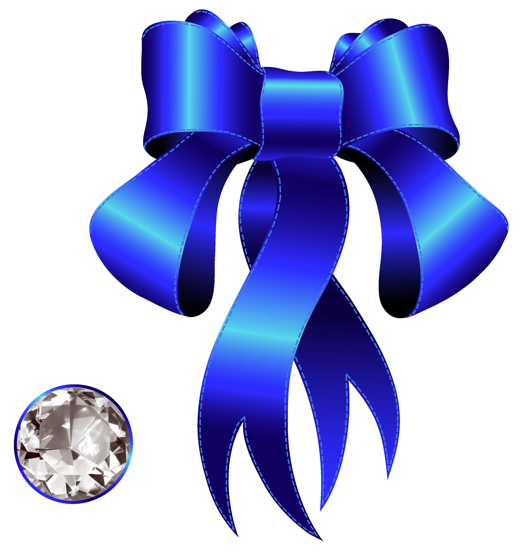 Blue decorative bow with. Diamond clipart ribbon