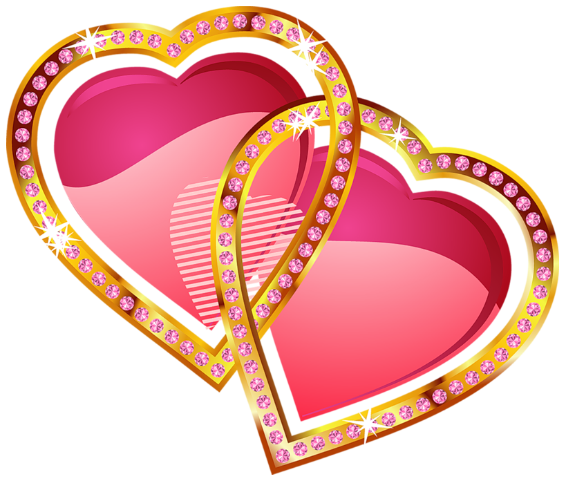 Hearts with gold and. Diamond clipart shading
