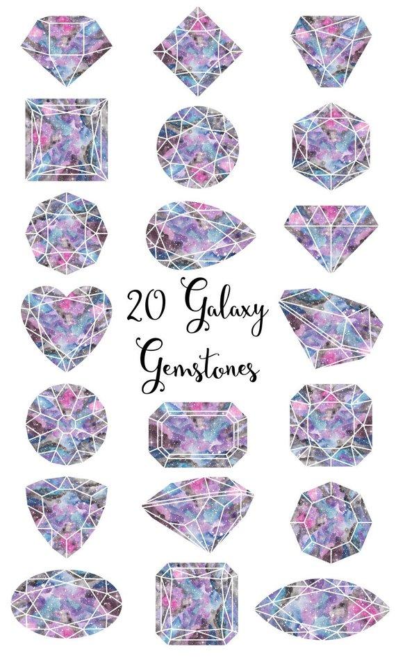 Gemstones galaxy . Diamond clipart watercolor