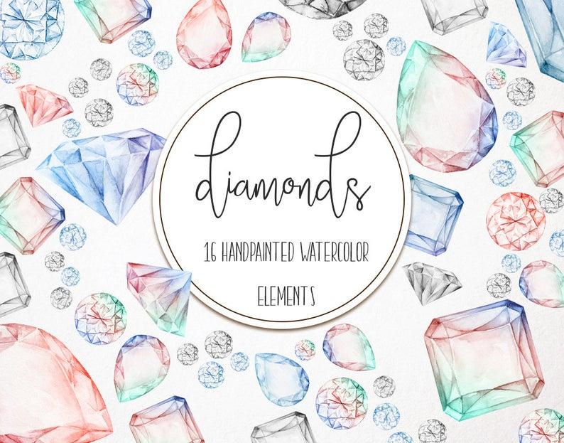Diamonds hand drawn clip. Diamond clipart watercolor