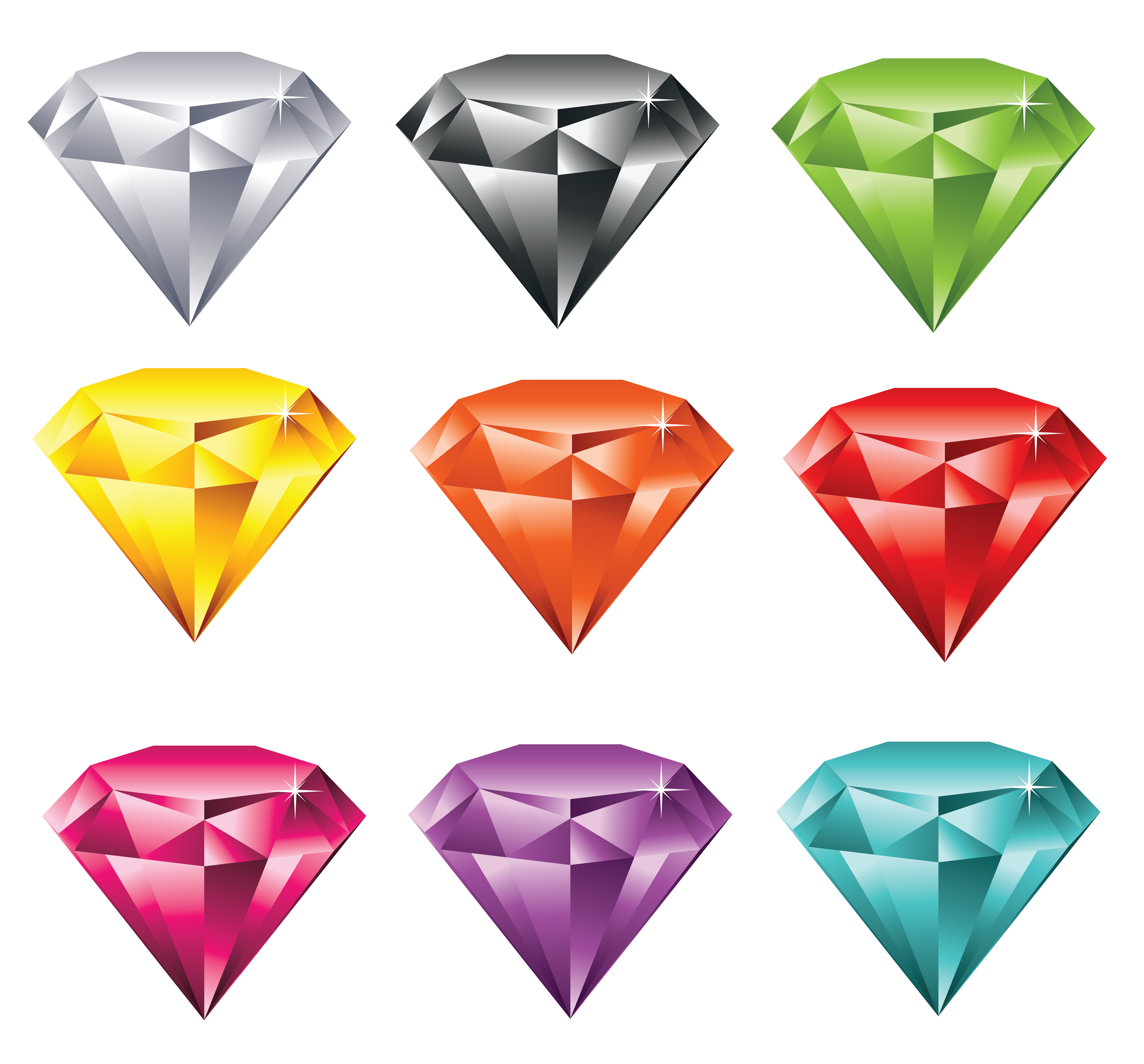 Multicolor diamonds set png. Clipart rock diamond
