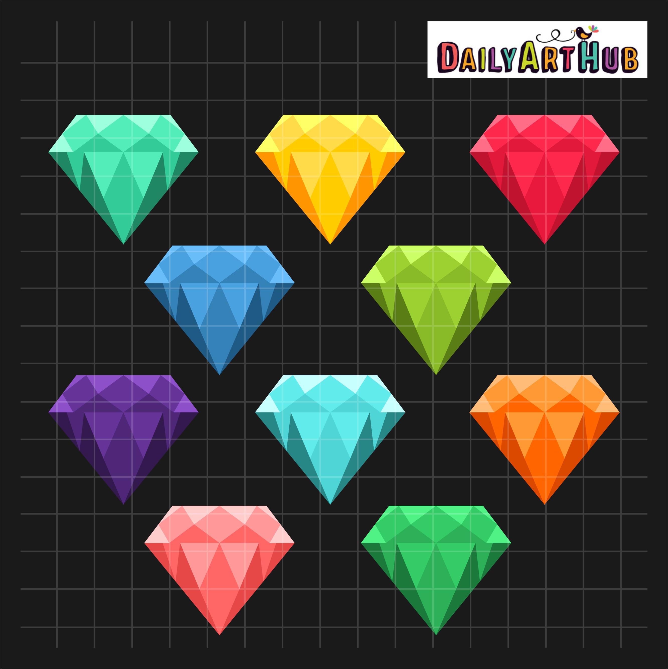 Colorful clip art set. Diamonds clipart coloured