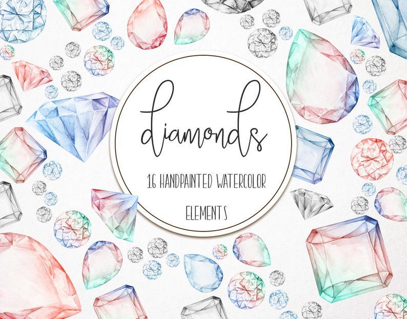 Diamonds clipart drawn. Watercolor hand diamond clip