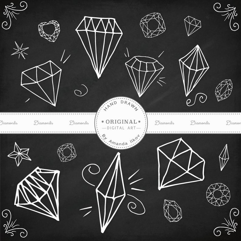Diamonds clipart drawn. Premium hand diamond clip