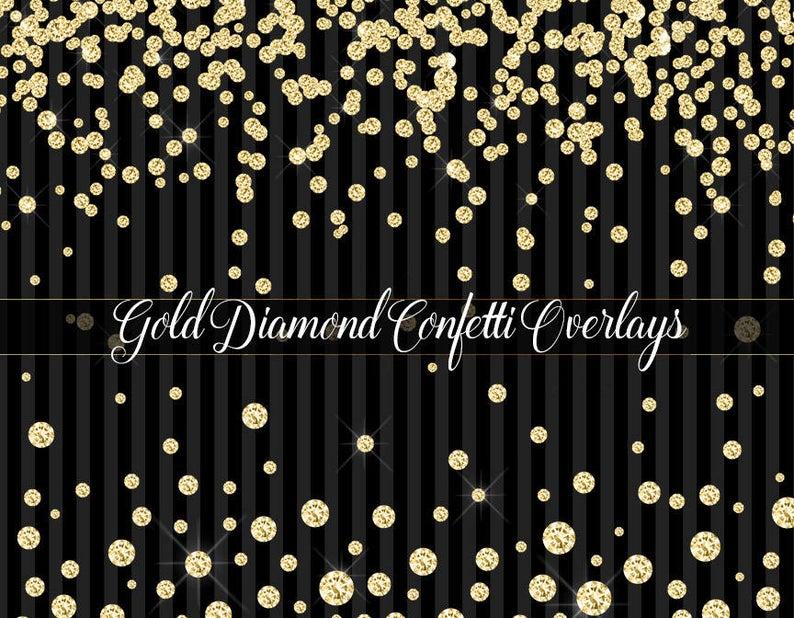 Diamond confetti overlays clip. Diamonds clipart gold glitter
