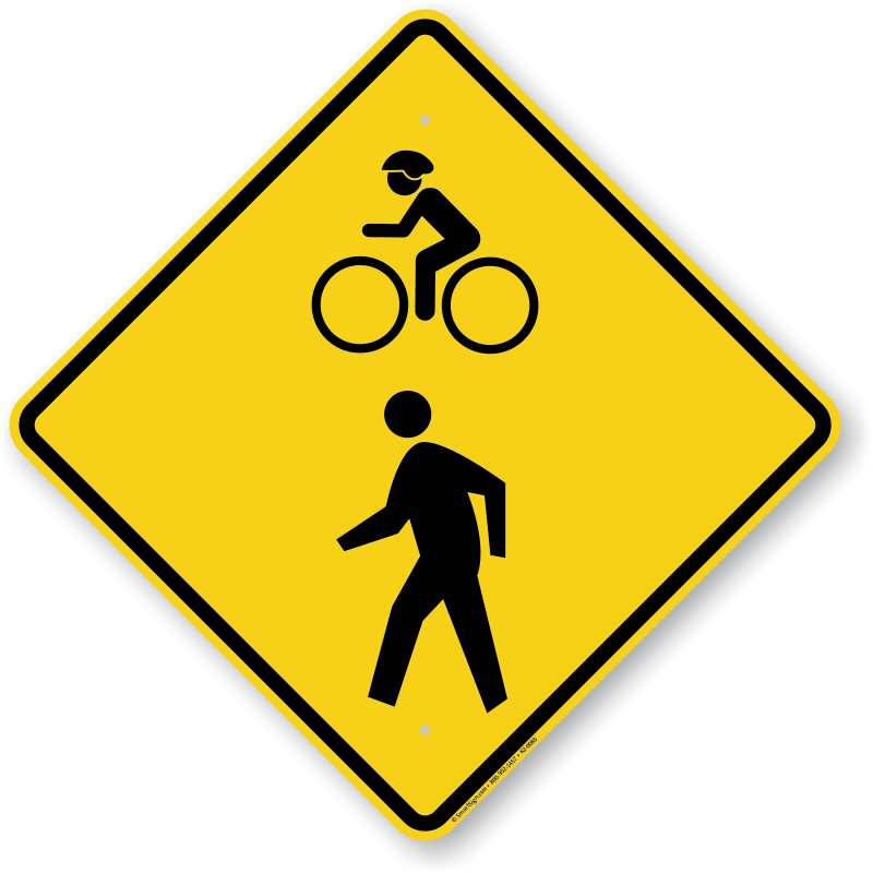 Bicycle crossing signs fluorescent. Diamonds clipart road sign