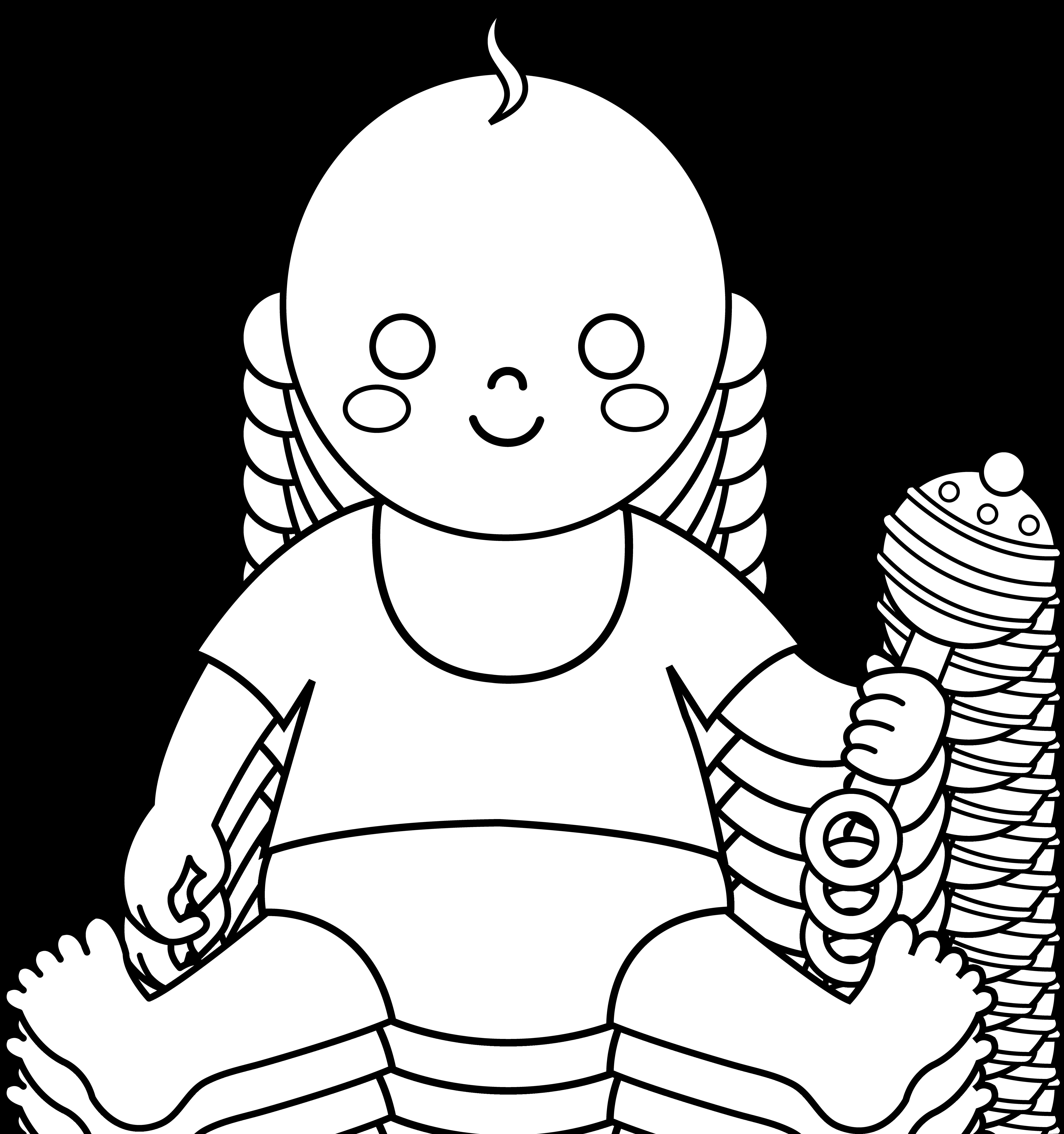 Free baby bib download. Diaper clipart cartoon little girl