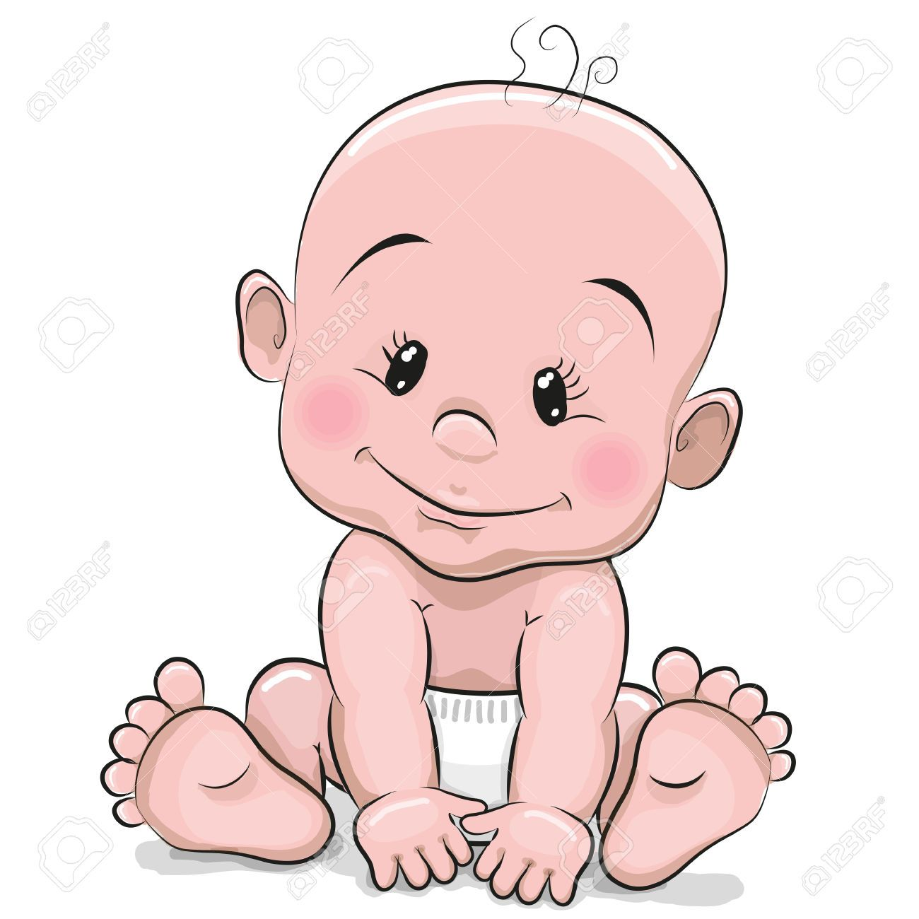 Diaper clipart cartoon little girl.  baby stock vector