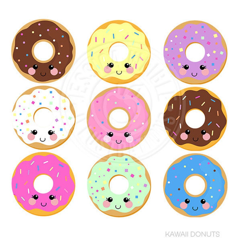 Donuts cute digital donut. Doughnut clipart kawaii