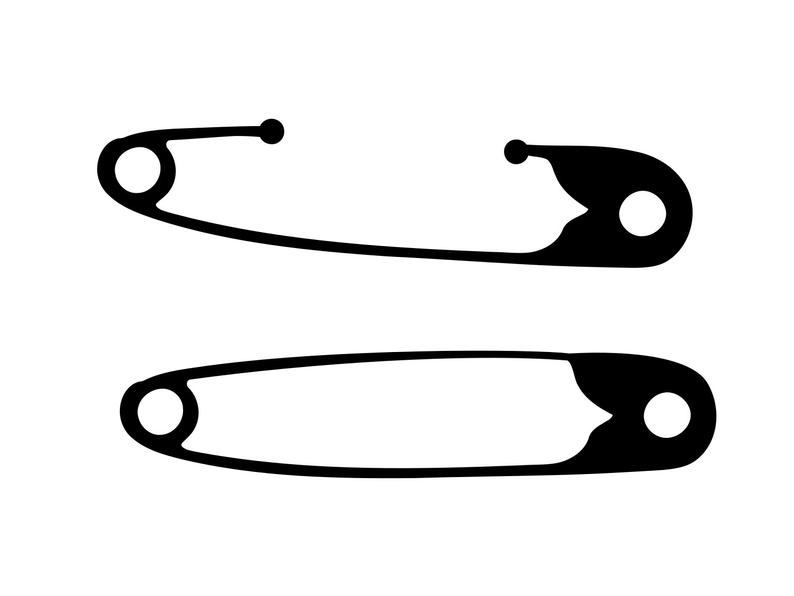 Safety pins svg clip. Diaper clipart safty
