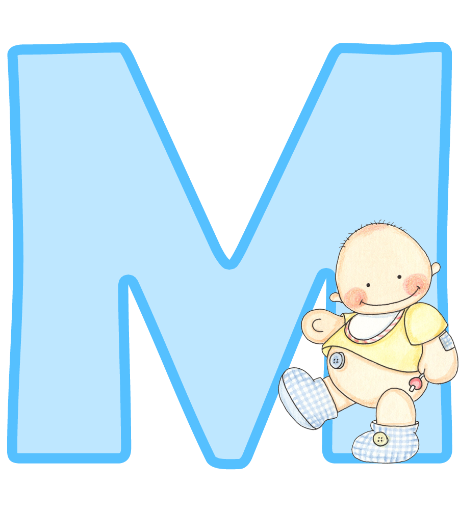 E clipart cartoon alphabet. Alfabeto con lindo beb