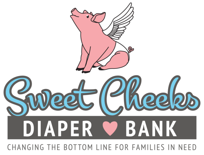 Sweet cheeks bank helping. Infant clipart diaper drive