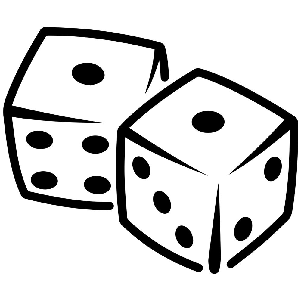 Black and white fototo. Dice clipart