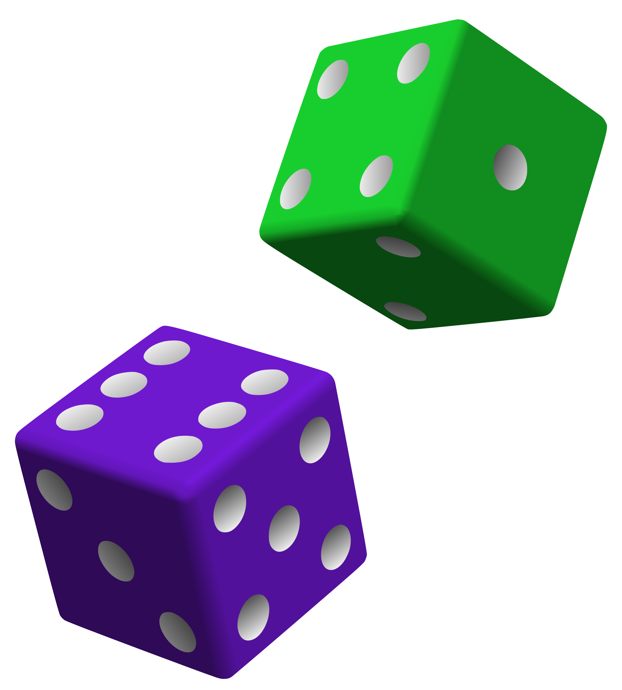 Dice clipart different color. Green and purple big