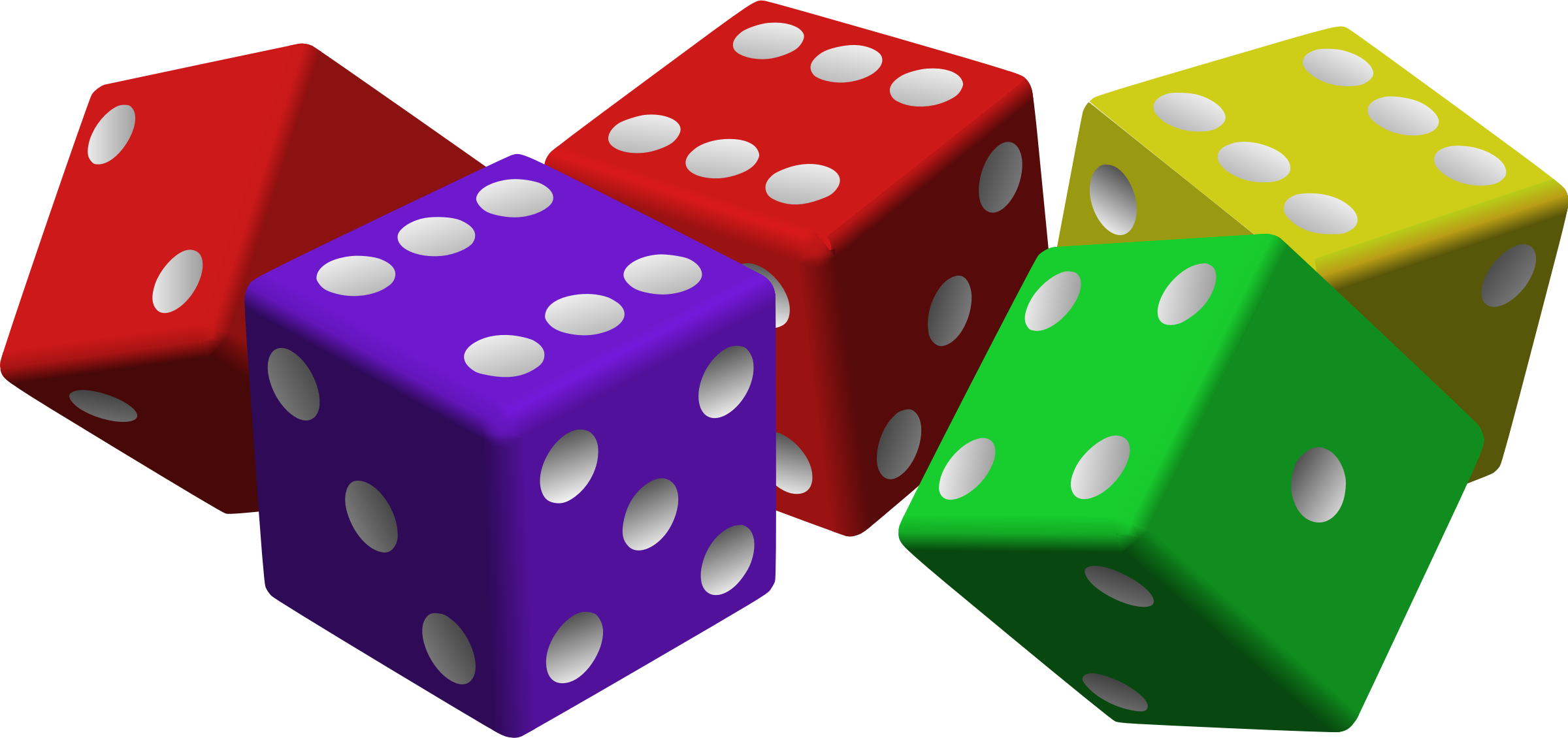 Dice clipart different color. Five colored big image