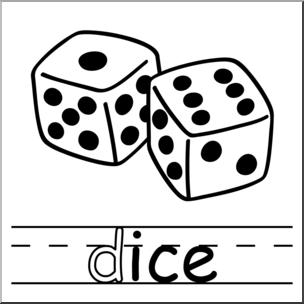 Dice clipart line art. Clip basic words ice