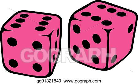 Vector art drawing gg. Dice clipart pink