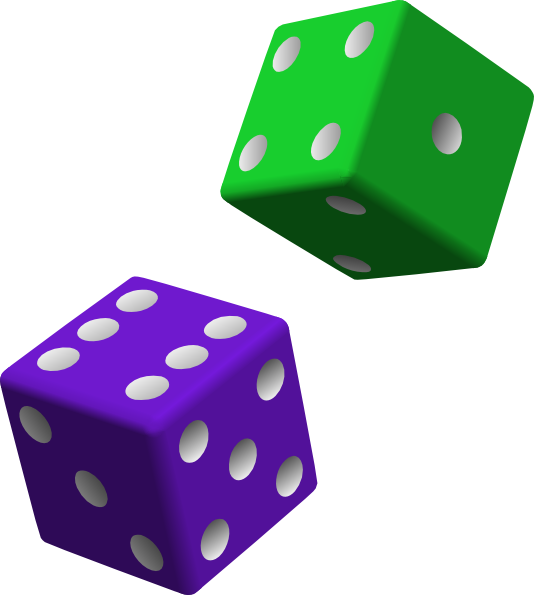 Green and purple clip. Number 1 clipart dice