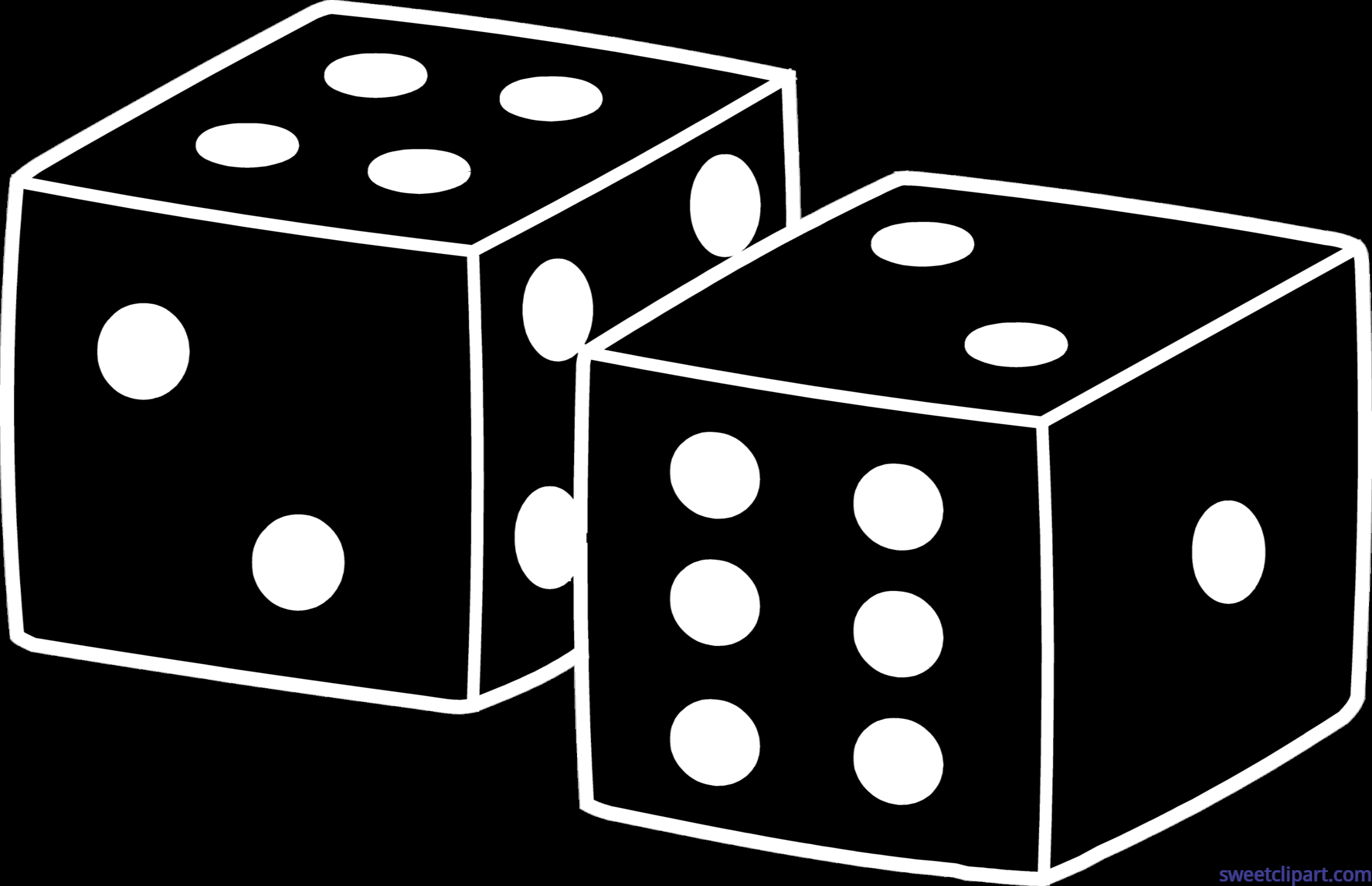 Black clip art sweet. Dice clipart yellow dice
