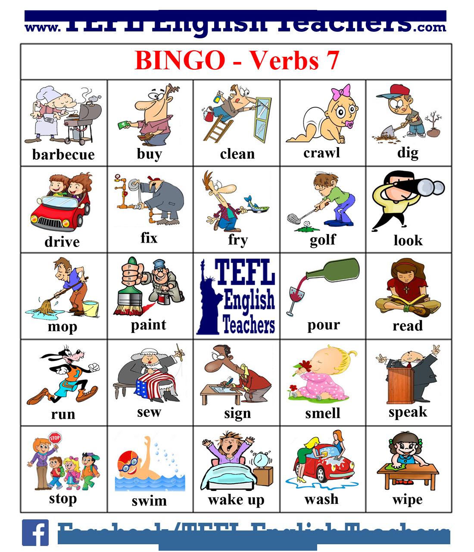 Dictionary clipart english tense. Tefl teachers bingo verbs