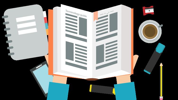 Terminology tools for translators. Dictionary clipart glossary