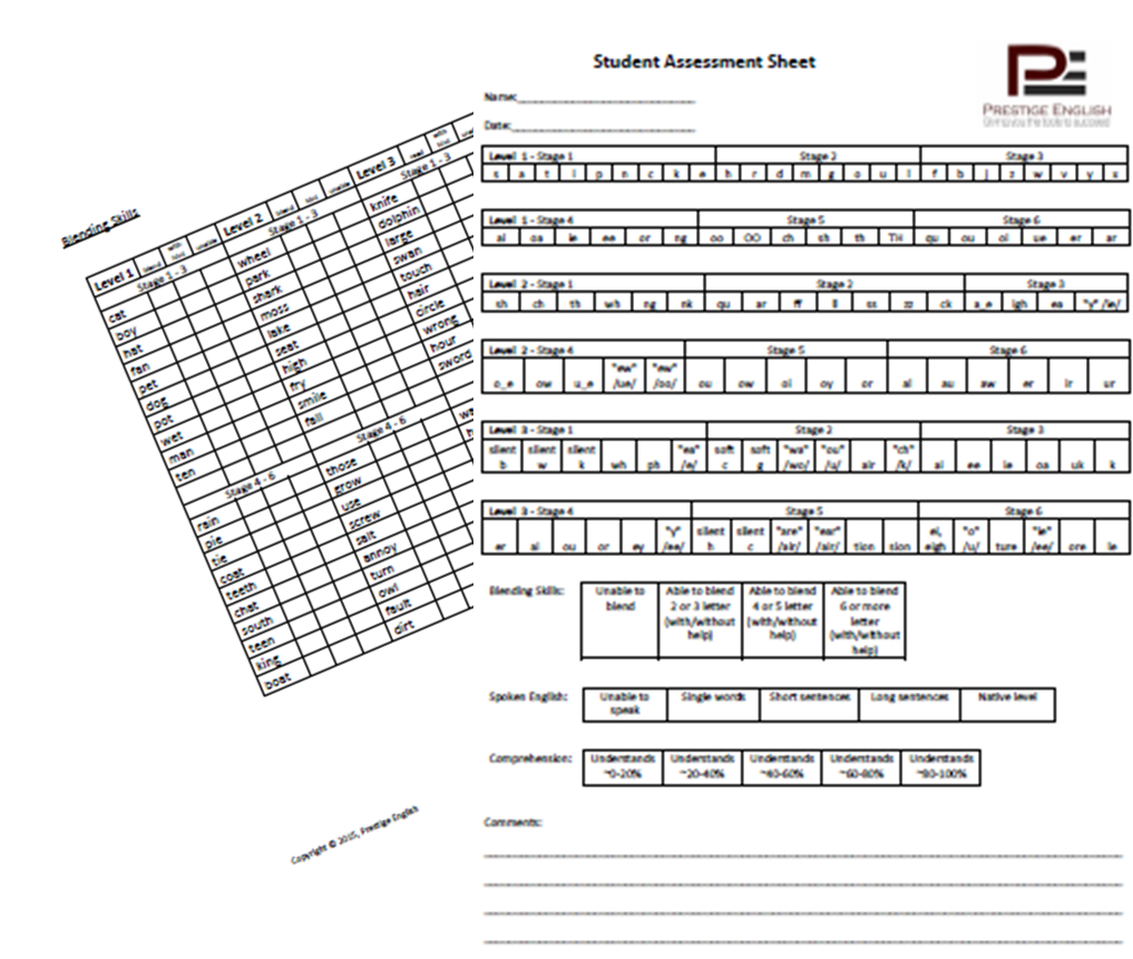Student assessment sheet reading. Dictionary clipart phonics